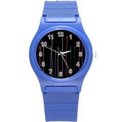 Falling Light Lines Color Pink Blue Yellow Round Plastic Sport Watch (s) by Alisyart