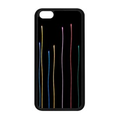 Falling Light Lines Color Pink Blue Yellow Apple Iphone 5c Seamless Case (black) by Alisyart