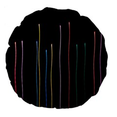 Falling Light Lines Color Pink Blue Yellow Large 18  Premium Flano Round Cushions by Alisyart