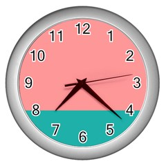 Flag Color Pink Blue Line Wall Clocks (silver)  by Alisyart