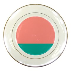 Flag Color Pink Blue Line Porcelain Plates by Alisyart
