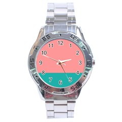 Flag Color Pink Blue Line Stainless Steel Analogue Watch by Alisyart