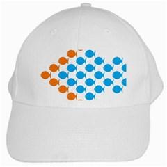 Fish Arrow Orange Blue White Cap by Alisyart