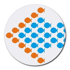 Fish Arrow Orange Blue Round Mousepads by Alisyart
