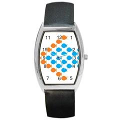 Fish Arrow Orange Blue Barrel Style Metal Watch by Alisyart