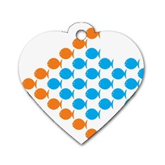 Fish Arrow Orange Blue Dog Tag Heart (two Sides) by Alisyart