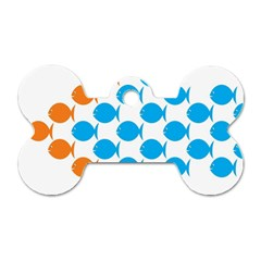 Fish Arrow Orange Blue Dog Tag Bone (two Sides) by Alisyart