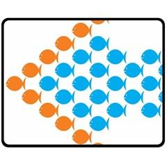 Fish Arrow Orange Blue Fleece Blanket (medium)  by Alisyart