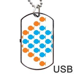 Fish Arrow Orange Blue Dog Tag Usb Flash (one Side) by Alisyart