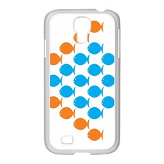 Fish Arrow Orange Blue Samsung Galaxy S4 I9500/ I9505 Case (white) by Alisyart