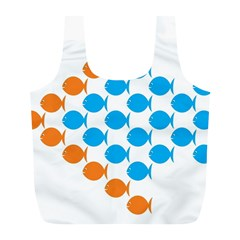 Fish Arrow Orange Blue Full Print Recycle Bags (l)  by Alisyart