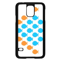 Fish Arrow Orange Blue Samsung Galaxy S5 Case (black) by Alisyart