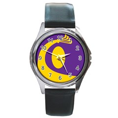 Flag Purple Yellow Circle Round Metal Watch by Alisyart
