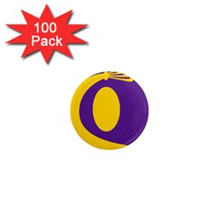 Flag Purple Yellow Circle 1  Mini Magnets (100 Pack)  by Alisyart