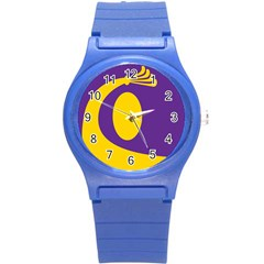 Flag Purple Yellow Circle Round Plastic Sport Watch (s) by Alisyart