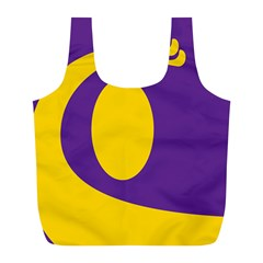 Flag Purple Yellow Circle Full Print Recycle Bags (l)  by Alisyart