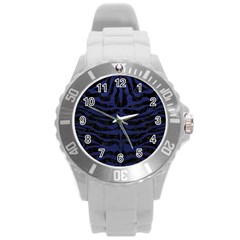 Skin2 Black Marble & Blue Leather Round Plastic Sport Watch (l) by trendistuff