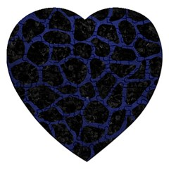 Skin1 Black Marble & Blue Leather (r) Jigsaw Puzzle (heart) by trendistuff