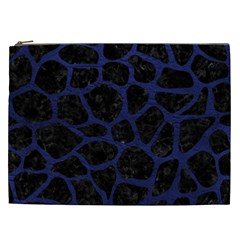 Skin1 Black Marble & Blue Leather (r) Cosmetic Bag (xxl) by trendistuff