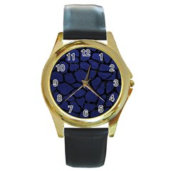 Skin1 Black Marble & Blue Leather Round Gold Metal Watch