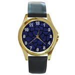 SKIN1 BLACK MARBLE & BLUE LEATHER Round Gold Metal Watch Front