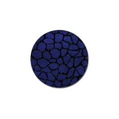 Skin1 Black Marble & Blue Leather Golf Ball Marker by trendistuff