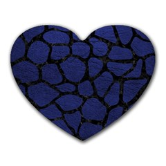Skin1 Black Marble & Blue Leather Heart Mousepad by trendistuff
