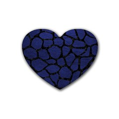 Skin1 Black Marble & Blue Leather Rubber Coaster (heart) by trendistuff
