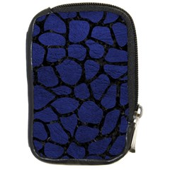 Skin1 Black Marble & Blue Leather Compact Camera Leather Case by trendistuff