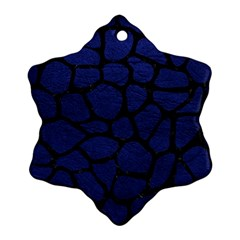 Skin1 Black Marble & Blue Leather Snowflake Ornament (two Sides) by trendistuff