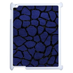 Skin1 Black Marble & Blue Leather Apple Ipad 2 Case (white) by trendistuff