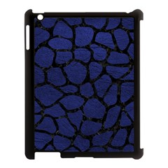 Skin1 Black Marble & Blue Leather Apple Ipad 3/4 Case (black) by trendistuff