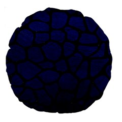 Skin1 Black Marble & Blue Leather Large 18  Premium Round Cushion  by trendistuff