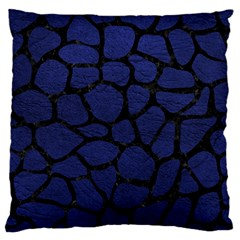 Skin1 Black Marble & Blue Leather Large Flano Cushion Case (two Sides) by trendistuff