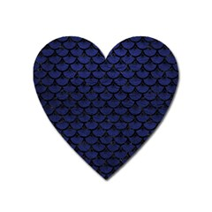 Scales3 Black Marble & Blue Leather (r) Magnet (heart) by trendistuff