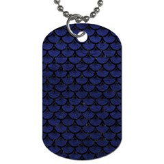 Scales3 Black Marble & Blue Leather (r) Dog Tag (two Sides) by trendistuff