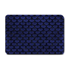 Scales3 Black Marble & Blue Leather (r) Small Doormat by trendistuff