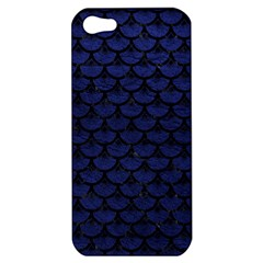 Scales3 Black Marble & Blue Leather (r) Apple Iphone 5 Hardshell Case by trendistuff