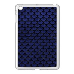 Scales3 Black Marble & Blue Leather (r) Apple Ipad Mini Case (white) by trendistuff