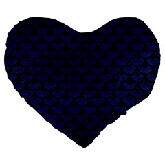 Scales3 Black Marble & Blue Leather (r) Large 19  Premium Flano Heart Shape Cushion by trendistuff