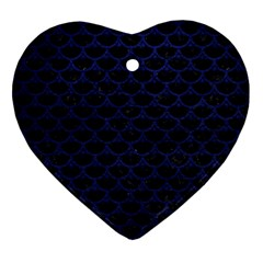Scales3 Black Marble & Blue Leather Ornament (heart) by trendistuff