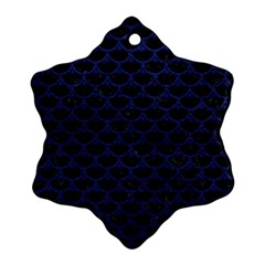 Scales3 Black Marble & Blue Leather Snowflake Ornament (two Sides) by trendistuff