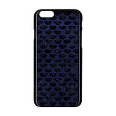 Scales3 Black Marble & Blue Leather Apple Iphone 6/6s Black Enamel Case by trendistuff