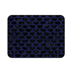 Scales3 Black Marble & Blue Leather Double Sided Flano Blanket (mini) by trendistuff