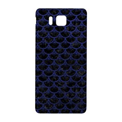 Scales3 Black Marble & Blue Leather Samsung Galaxy Alpha Hardshell Back Case by trendistuff