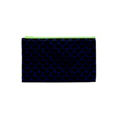 Scales3 Black Marble & Blue Leather Cosmetic Bag (xs) by trendistuff