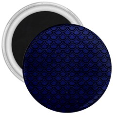 Scales2 Black Marble & Blue Leather (r) 3  Magnet by trendistuff