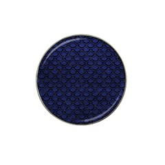 Scales2 Black Marble & Blue Leather (r) Hat Clip Ball Marker by trendistuff