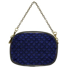 Scales2 Black Marble & Blue Leather (r) Chain Purse (two Sides) by trendistuff