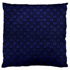Scales2 Black Marble & Blue Leather (r) Large Flano Cushion Case (two Sides) by trendistuff